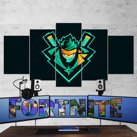 Fortnite Ninja Logo 63 - 5 Piece Canvas Wall Art Gaming Canvas