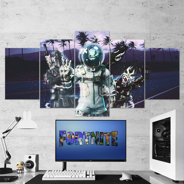 Fortnite Leviathan, Black Knight, Wukong 66 - 5 Piece Canvas Wall Art Gaming Canvas
