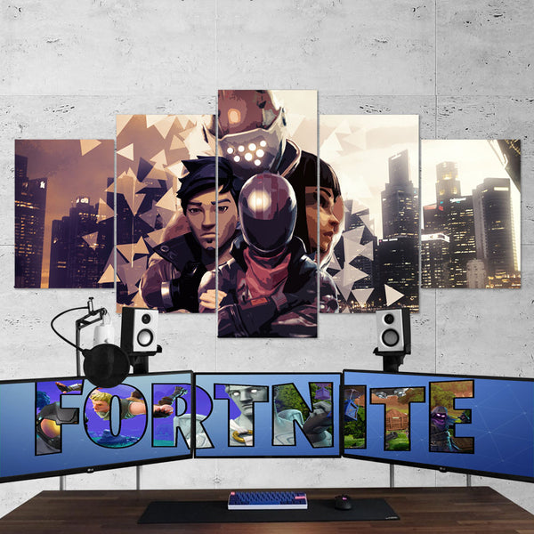 Fortnite Battel Royale Burnout, Shadow Ops, Rust Lord 84 - 5 Piece Canvas Wall Art Gaming Canvas