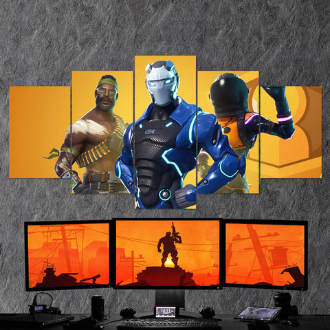 Fortnite Battel Royale Carbide, Full Armor Dark Vanguard, Bandolier 85 - 5 Piece Canvas Wall Art Gaming Canvas