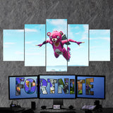 Fortnite Battel Royale Cuddle Team Leader Skydive 91- 5 Piece Canvas Wall Art Gaming Canvas