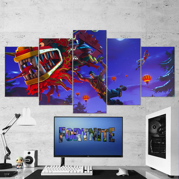 Fortnite 93 Dragon Glider 5 Piece Canvas Wall Art Gaming Canvas