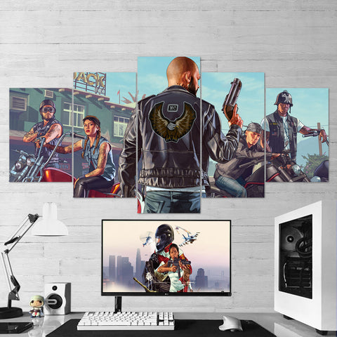 GTA Online - Grand Theft Auto Online - Bikers 5 Piece Canvas Wall Art Gaming Room Canvas 5PCGTA008