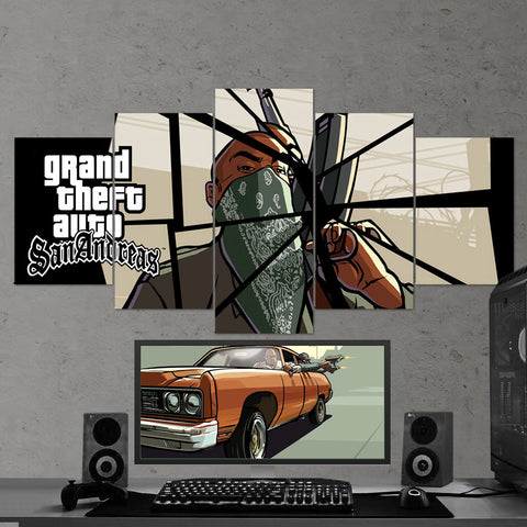 GTA San Andreas - Grand Theft Auto San Andreas 5 Piece Canvas Wall Art Gaming Room Canvas 5PCGTA009