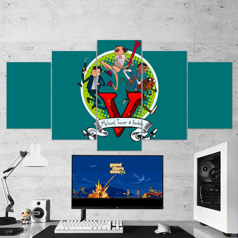 GTA V-Michael-Travor-Franklin 5 Piece Canvas Wall Art Gaming Room Canvas 5PCGTA006