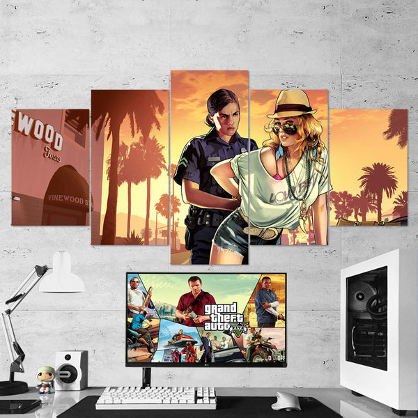 GTA V - Grand Theft Auto V - 5 Piece Canvas Wall Art Gaming Room Canvas 5PCGTA001