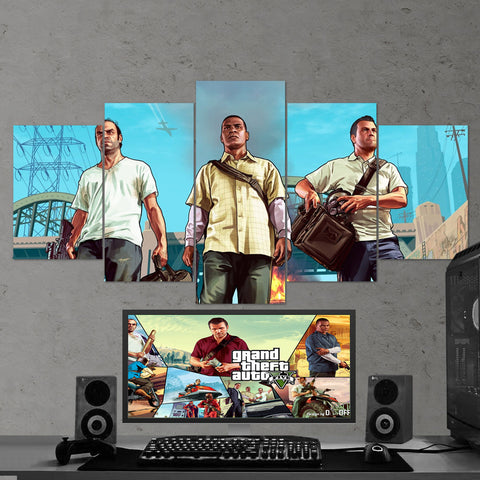 GTA V - Grand Theft Auto V - 5 Piece Canvas Wall Art Gaming Room Canvas 5PCGTA002