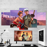GTA V - Grand Theft Auto V - 5 Piece Canvas Wall Art Gaming Room Canvas 5PCGTA003