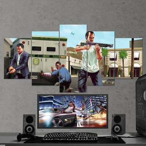 GTA V - Grand Theft Auto V - 5 Piece Canvas Wall Art Gaming Room Canvas 5PCGTA004