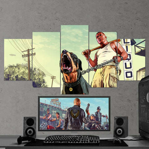 GTA V Grand Theft Auto V - 5 Piece Canvas Wall Art Gaming Room Canvas 5PCGTA010