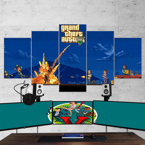 GTA V Grand Theft Auto V Minimalism 5 Piece Canvas Wall Art Gaming Room Canvas 5PCGTA007