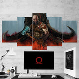 God Of War 06 - 5 Piece Canvas Wall Art Gaming Canvas