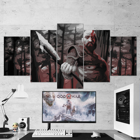 God Of War 11 - 5 Piece Canvas Wall Art Gaming Canvas