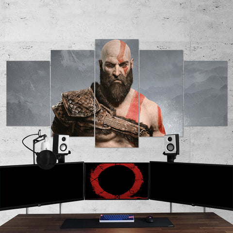 God Of War 12 - 5 Piece Canvas Wall Art Gaming Canvas