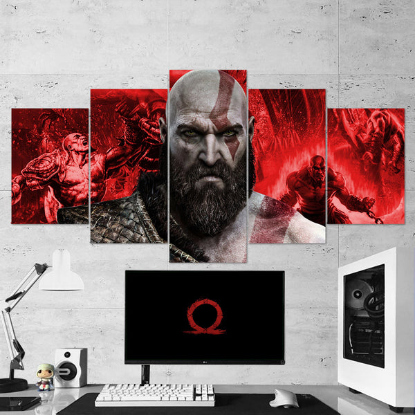 God Of War 13 - 5 Piece Canvas Wall Art Gaming Canvas