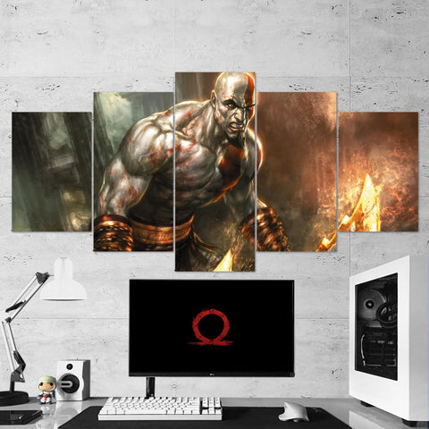 God Of War 18 - 5 Piece Canvas Wall Art Gaming Canvas