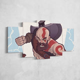 God Of War 21 - 5 Piece Canvas Wall Art Gaming Canvas