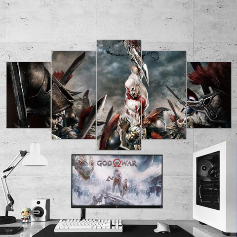 God Of War 23 - 5 Piece Canvas Wall Art Gaming Canvas