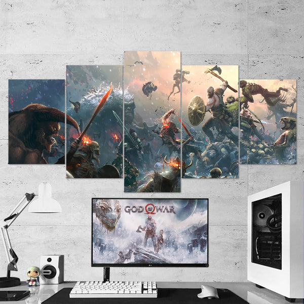 God Of War 28 - 5 Piece Canvas Wall Art Gaming Canvas