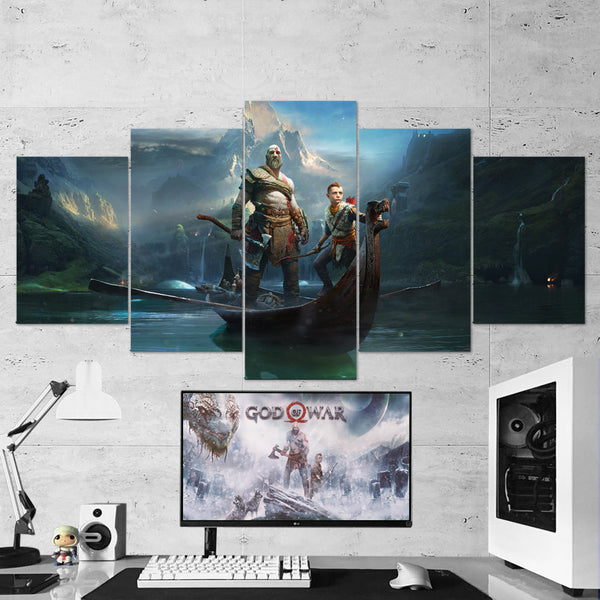 God Of War 30 Kratos And Atreus 5 Piece Canvas Wall Art Gaming Canvas