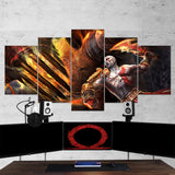God Of War 34 Kratos 5 Piece Canvas Wall Art Gaming Canvas