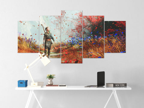 God Of War Canvas Wall Art 48 - 5 Piece Canvas Wall Art God Of War Gaming Poster