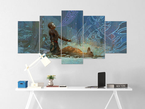 God Of War Canvas Wall Art 51 - 5 Piece Canvas Wall Art God Of War Gaming Poster