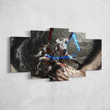 God Of War Canvas Wall Art 53 - 5 Piece Canvas Wall Art God Of War Gaming Poster
