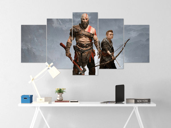 God Of War Canvas Wall Art 54 - 5 Piece Canvas Wall Art God Of War Gaming Poster