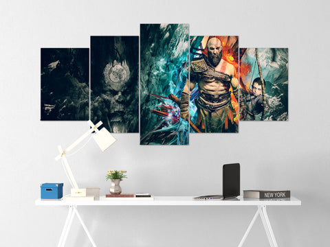 God Of War Canvas Wall Art 67 - 5 Piece Canvas Wall Art God Of War Gaming Poster