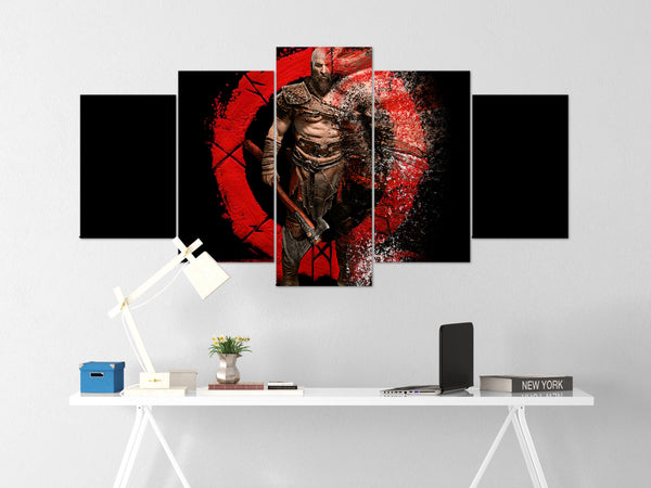 God Of War Canvas Wall Art 78 - 5 Piece Canvas Wall Art God Of War Gaming Poster