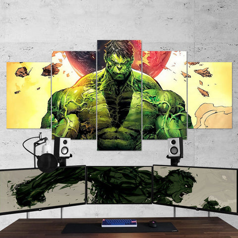 Hulk Canvas Wall Art Gaming Room 5 Piece Canvas