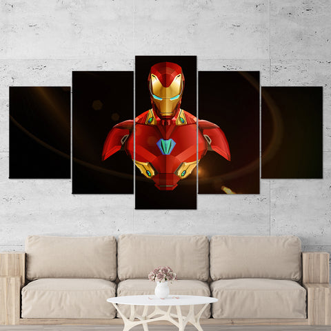 Ironman 02 Abstract 5 Piece Canvas Wall Art Gaming Canvas