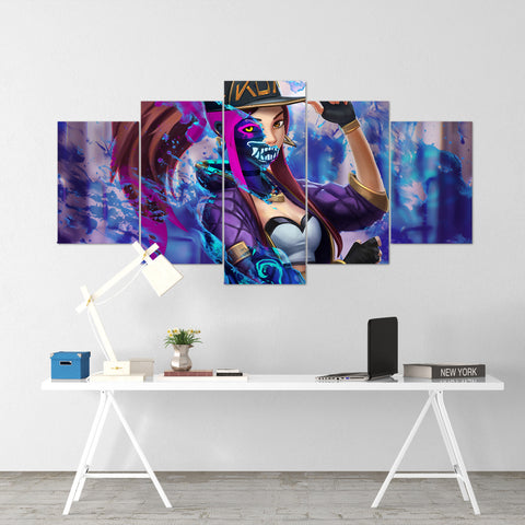 League Of Legends 06- Akali 5 Piece Canvas Wall Art Gaming Canvas - LOL Canvas