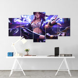 League Of Legends 07- Akali 5 Piece Canvas Wall Art Gaming Canvas - LOL Canvas