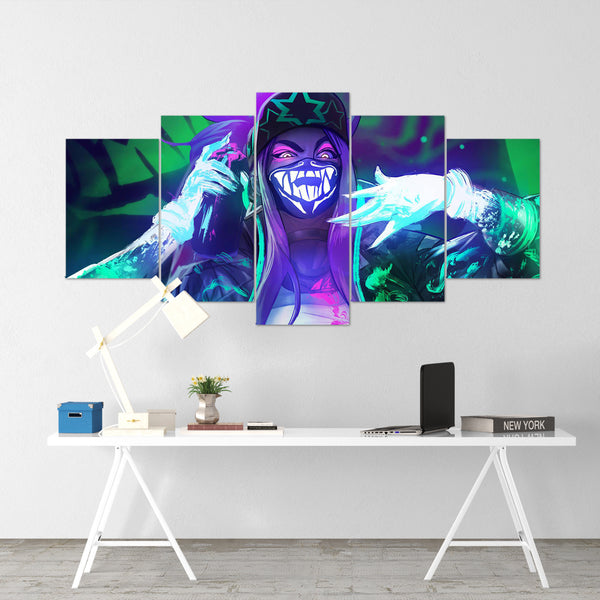 League Of Legends 12- Akali 5 Piece Canvas Wall Art Gaming Canvas - LOL Canvas