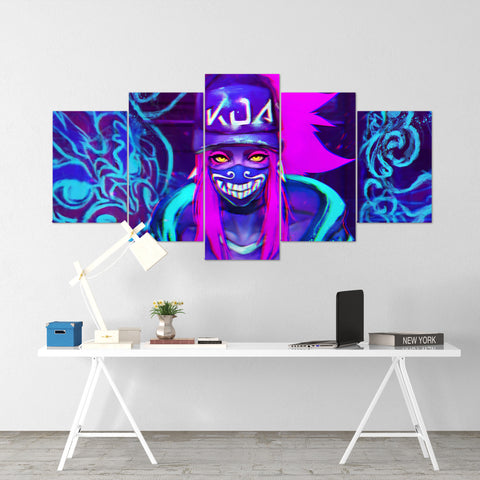 League Of Legends 13- Akali 5 Piece Canvas Wall Art Gaming Canvas - LOL Canvas