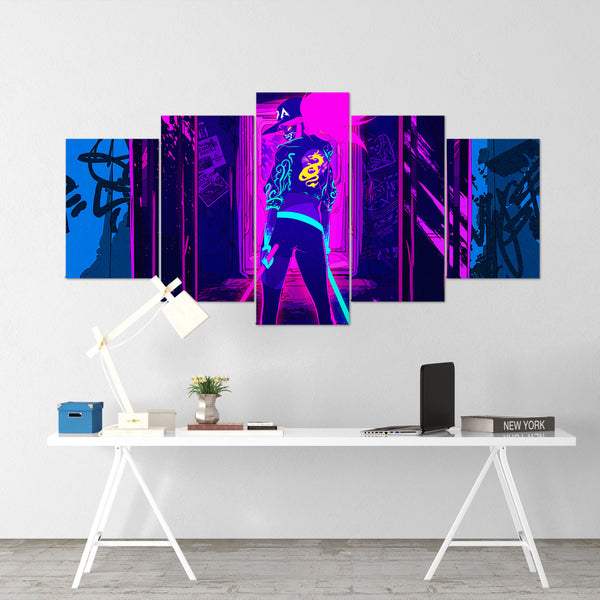 League Of Legends 14- Akali 5 Piece Canvas Wall Art Gaming Canvas - LOL Canvas
