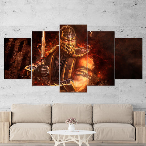 Mortal Kombat 01 Scorpion 5 Piece Canvas Wall Art Gaming Canvas