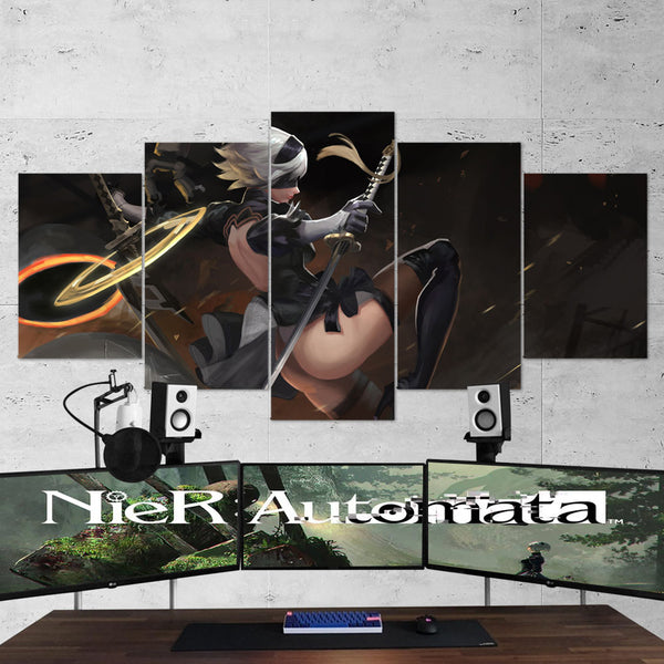 Nier Automata 02 Yorha 2b Katana 5 Piece Canvas Wall Art Gaming Canvas