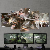 Nier Automata 03 2b And 9s - 5 Piece Canvas Wall Art Gaming Canvas