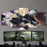 Nier Automata Canvas 09 - 2b Katana 5 Piece Canvas Wall Art Gaming Canvas
