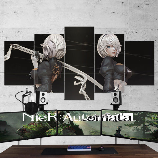 Nier Automata 11 Yorha 2b 5 Piece Canvas Wall Art Gaming Room Canvas