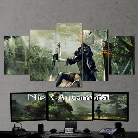 Nier Automata 14 2B Katana 5 Piece Canvas Wall Art Gaming Room Canvas