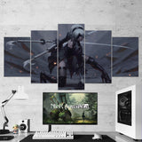Nier Automata Wall Art 16 - Yorha 2B Katana 5 Piece Canvas Wall Art Gaming Room Canvas