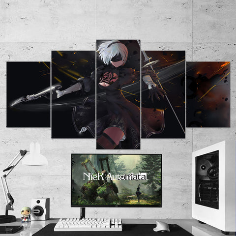 Nier Automata Canvas 19 - Yorha 2B - 5 Piece Canvas Wall Art Gaming Room Canvas