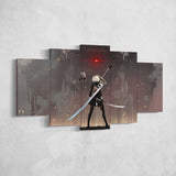 Nier Automata Canvas 20 - 2B Katana 5 Piece Canvas Wall Art Gaming Room Canvas