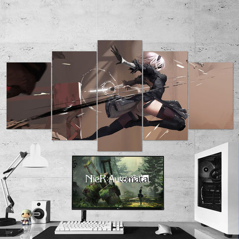 Nier Automata Canvas 21 - Yorha 2B 5 Piece Canvas Wall Art Gaming Room Canvas