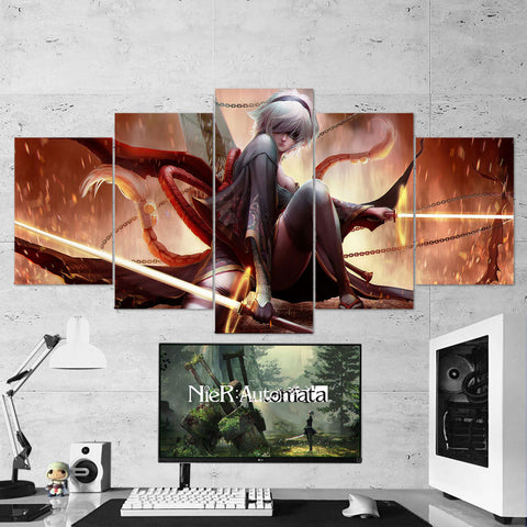 Nier Automata Canvas 22 - 2B Kimono Katana 5 Piece Canvas Wall Art Gaming Room Canvas