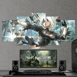Nier Automata 23 2B And 9S - 5 Piece Canvas Wall Art Gaming Room Canvas